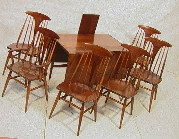 HEYWOOD WAKEFIELD Cherry Dining Table & 6 Chairs