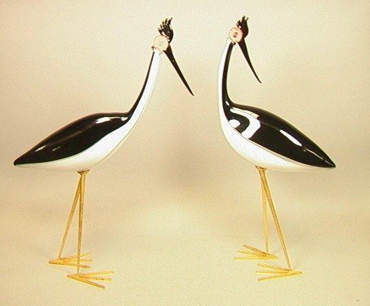 5: Pair Large and Dramatic Zanetti Murano Glass Bird