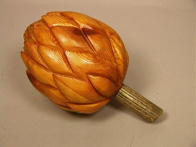 14: Carved Wood Artichoke Sculpture with Brass Stem.