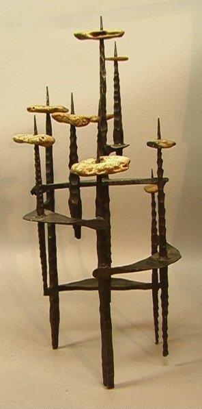 1: Brutalist DAVID PALUMBO Iron and Stone Menorah Ca