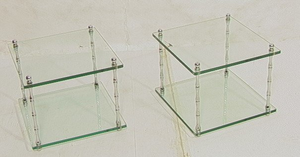 """2: Pr Glass and Chrome Double Tier Side Tables. 1/2"""""""