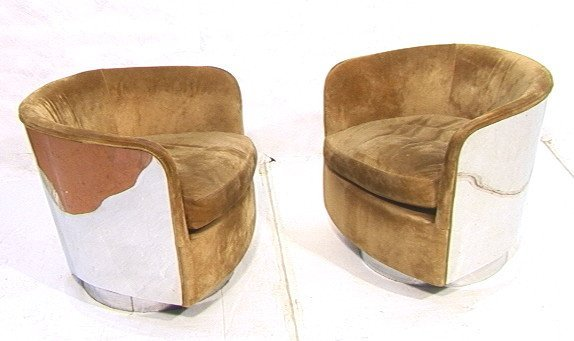 4: 2 MILO BAUGHMAN THAYER COGGIN Suede Lounge Chairs