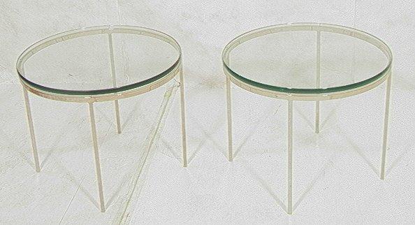 6: Pr NICOS ZOGRAPHOS Chrome Glass Top Side Tables.