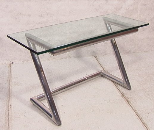 """9: """"Z"""" frame Hall Console Table with 3/4"""" Glass Top."""