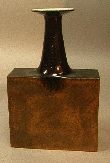 13: GAMBONE Pottery Ceramic Signed  Vase. Squared Vas