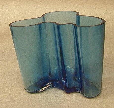 15: ALVAR AALTO Turquoise Blue Vase. Signed Aalto Iit