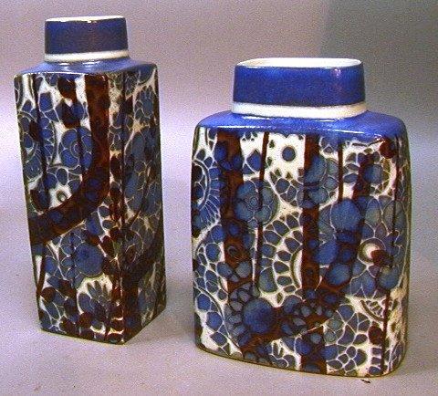 20: 2 PCS ROYAL COPENHAGEN FAIANCE Vases. Squared For