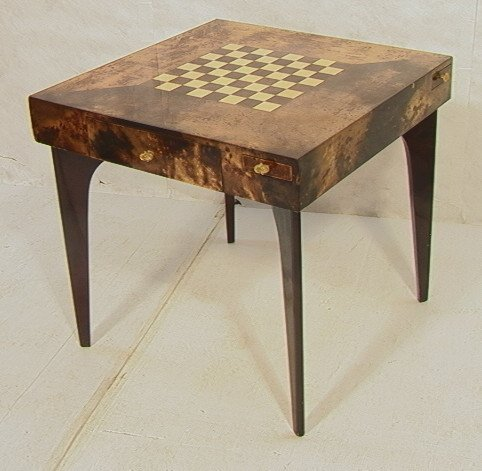 38: ALDO TURA Goatskin Chess Checkers Table.  Brass P
