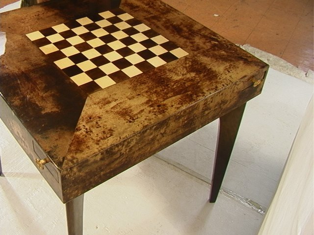 38: ALDO TURA Goatskin Chess Checkers Table.  Brass P - 5