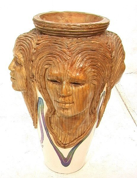 45: WOODROW NASH Ceramic Pottery Vase. Carved and Scu