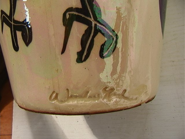 45: WOODROW NASH Ceramic Pottery Vase. Carved and Scu - 4