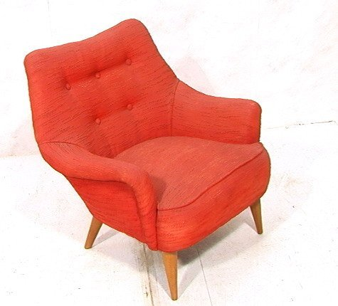 Red Upholstered HEYWOOD WAKEFIELD Lounge Chair T