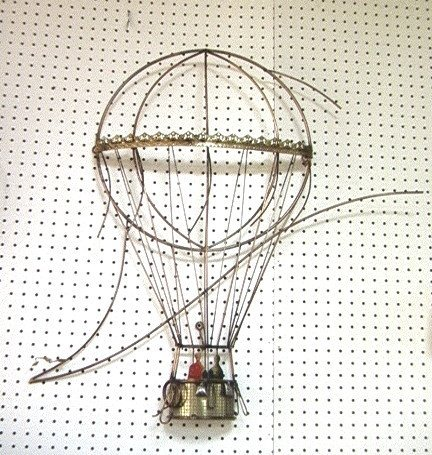 343: C JERE Hot Air Balloon Wire Art Wall Sculpture. S
