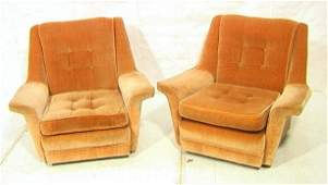 Pr Low Velvet Lounge Chairs. Wide Upholstered Arm