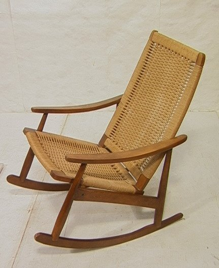 HANS WEGNER Style Rocking Chair Rocker Woven Sea