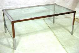 """410: PACE style Chrome Glass Dining Table. Large 21"""" D"""