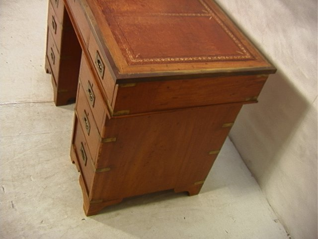488: Antique English Campaign Desk. Leather Top. Brass - 2