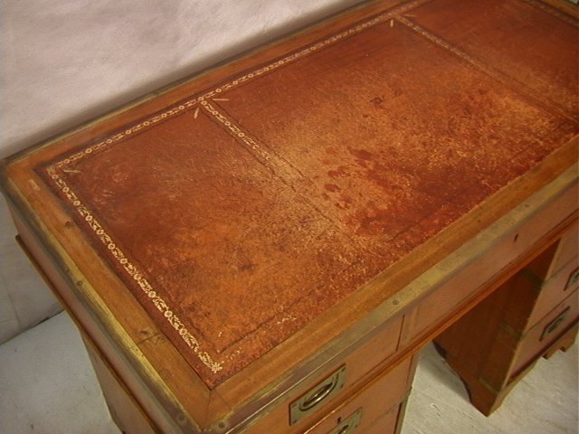 488: Antique English Campaign Desk. Leather Top. Brass - 4