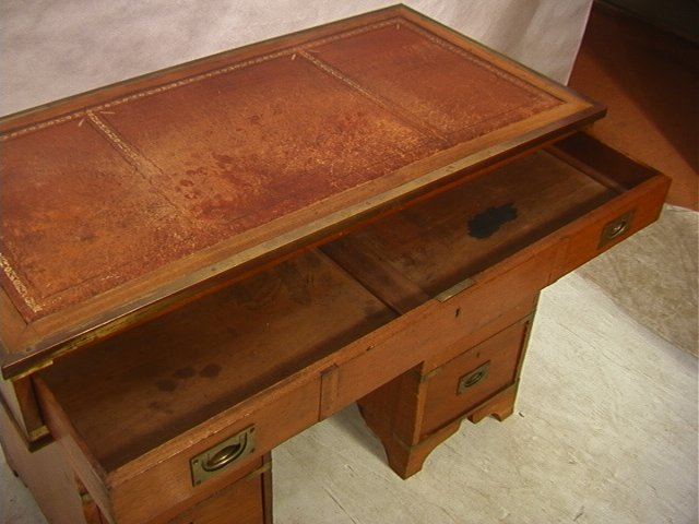 488: Antique English Campaign Desk. Leather Top. Brass - 5
