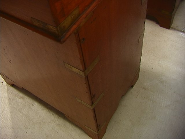 488: Antique English Campaign Desk. Leather Top. Brass - 6
