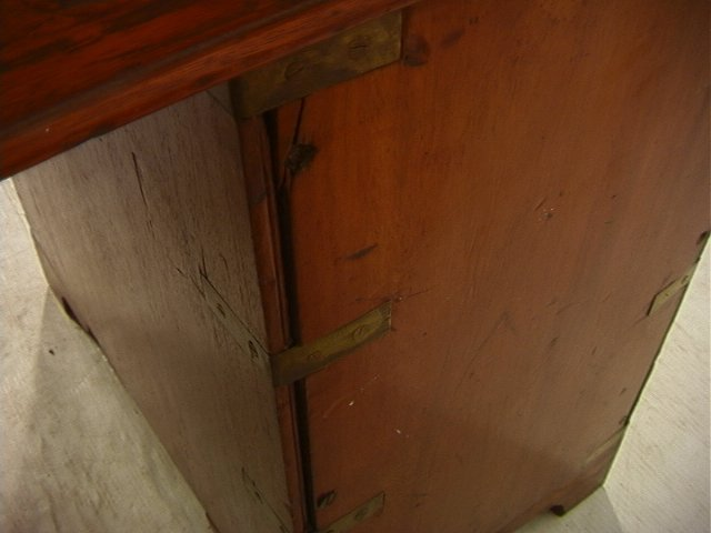 488: Antique English Campaign Desk. Leather Top. Brass - 7