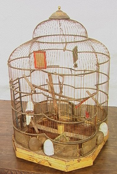 504: Antique Wire Metal Bird Cage. Fancy Decorative Ca