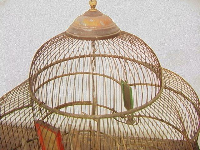 504: Antique Wire Metal Bird Cage. Fancy Decorative Ca - 2