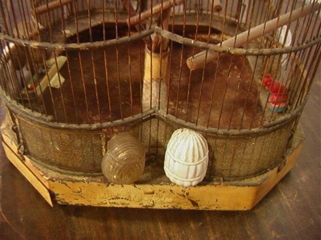 504: Antique Wire Metal Bird Cage. Fancy Decorative Ca - 4