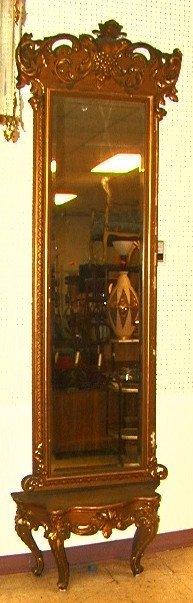 508: Antique Victorian Gold Gilt Pier Mirror with Matc