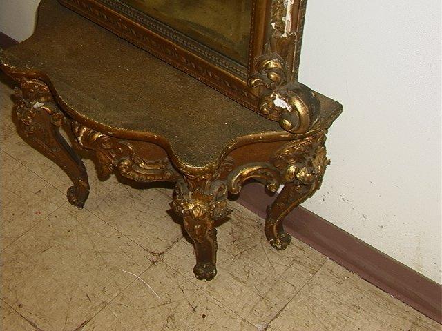 508: Antique Victorian Gold Gilt Pier Mirror with Matc - 4