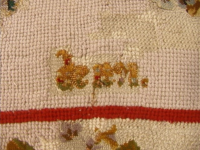514: Beaded & Hand Stitched Tapestry Wall Hanging. Woo - 8