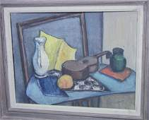 550: F. GOLDBERG '49 Oil Painting on Board. STILL LIFE