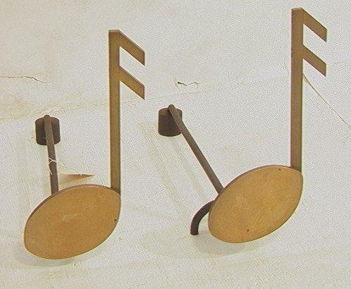 1: PR Musical Note Andirons. Iron & Brass Musical No