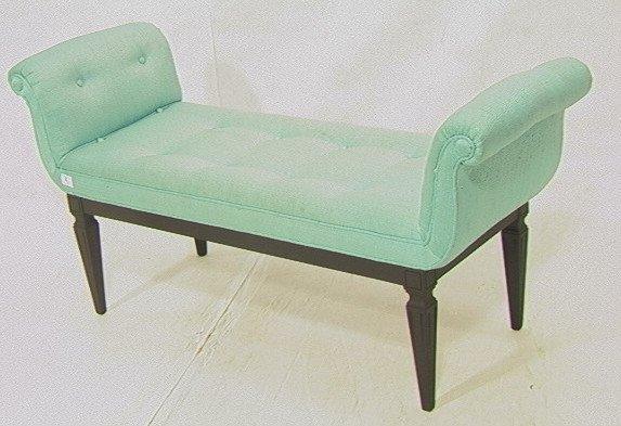 2: Regency Turquoise Upholstered Bench Seat. Black w