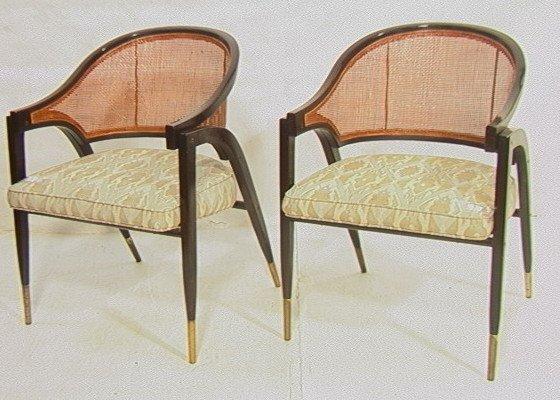 3: PR  EDWARD WORMLEY for DUNBAR Armchairs.  Caned b