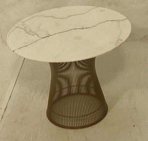 4: WARREN PLATNER Marble Top Side Occasional Table.
