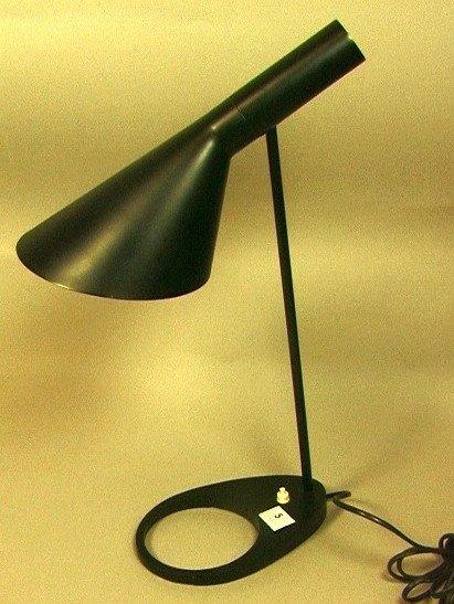 5: ARNE JACOBSEN Black Metal VISAR Table Lamp. Cone