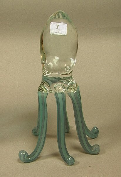 7: Murano Glass OCTOPUS Sculpture. Signed. Six legge