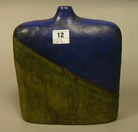 12: FANTONI Italian Pottery Pillow Form Vase. Green &