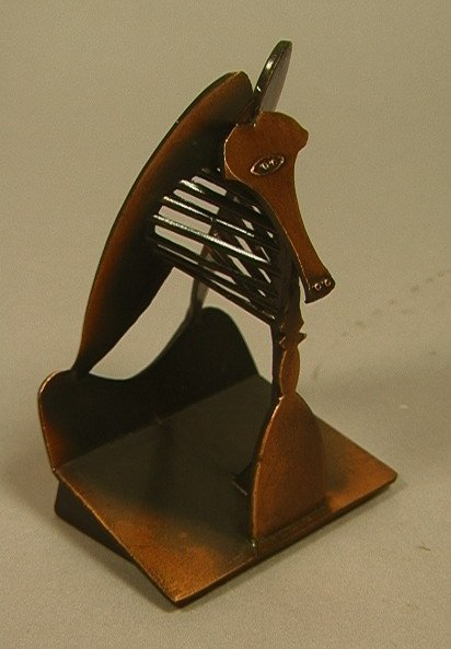 """16: Miniature Copper Colored Metal Picasso """"The Lady"""""""