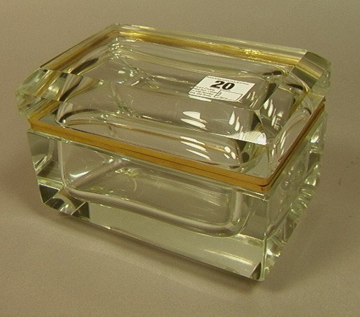 20: French Crystal Glass Box. Lidded box with faceted