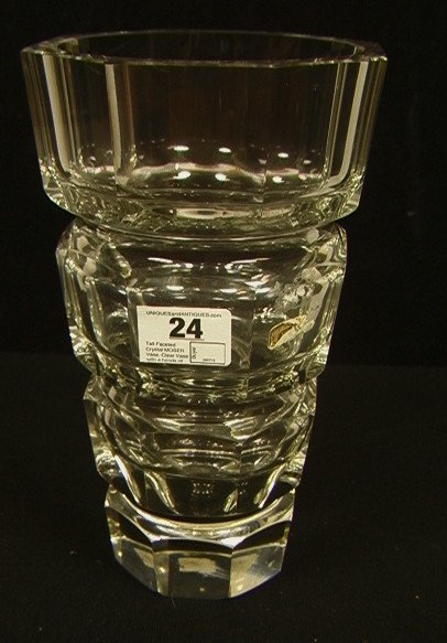 24: Tall Faceted Crystal MOSER Vase. Clear Vase with