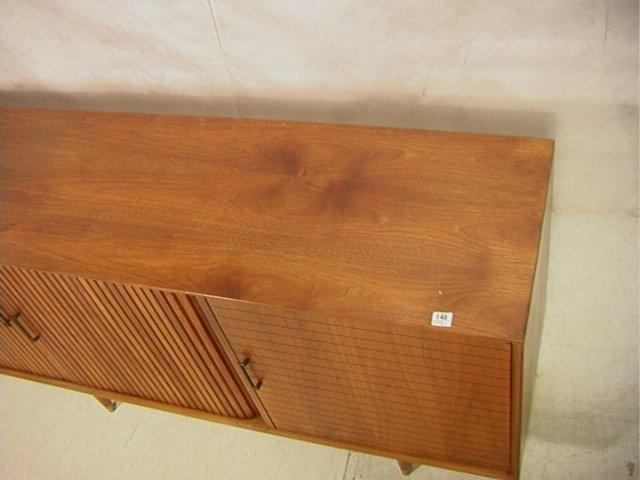 140: American Modern Walnut Credenza. 8 ft FURNETTE Cr - 5