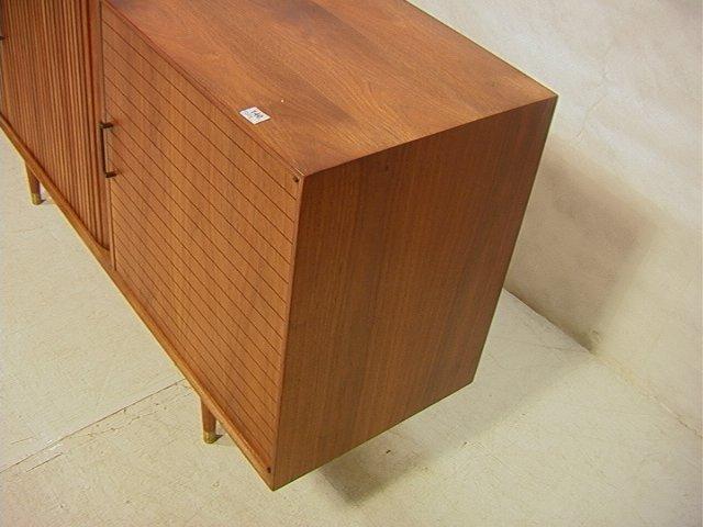 140: American Modern Walnut Credenza. 8 ft FURNETTE Cr - 6