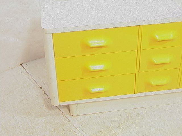 689: BROYHILL Yellow & White Plastic Dresser. Molded y - 2