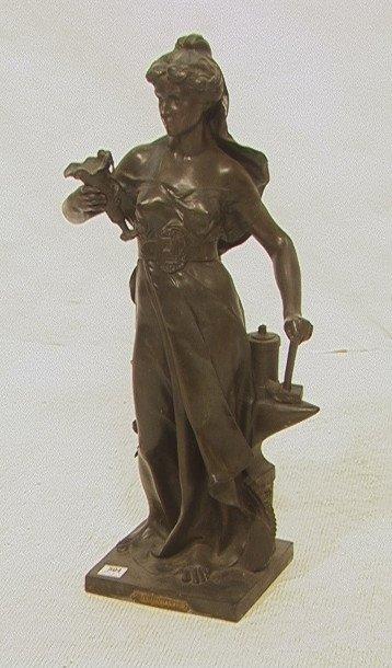 3: L'Industrie Par Germain Statue Sculpture.  Bronze