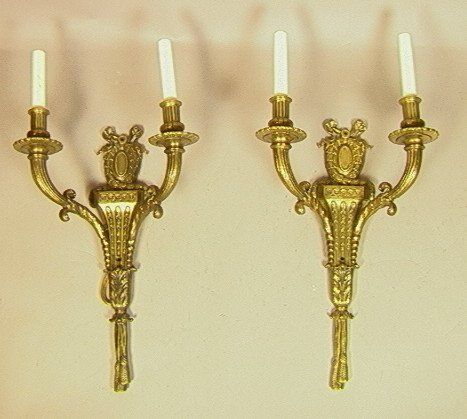 4: Pr Brass Candle Wall Sconces.  Classical Tassel F