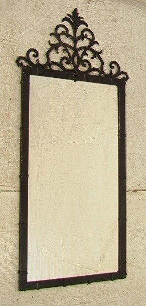 5: Paladio Wrought Iron Mirror Painted Black.  Fancy