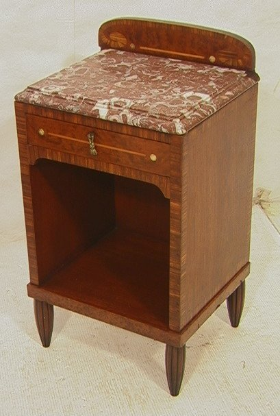 12: French Deco Night Stand Cabinet with Marble Top.