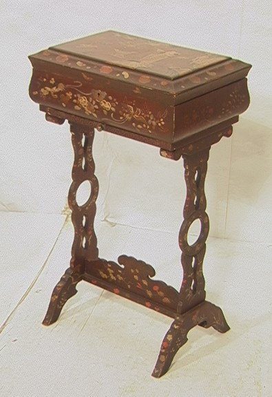 13: Victorian Asian Lacquer Sewing Stand Cabinet.  Li